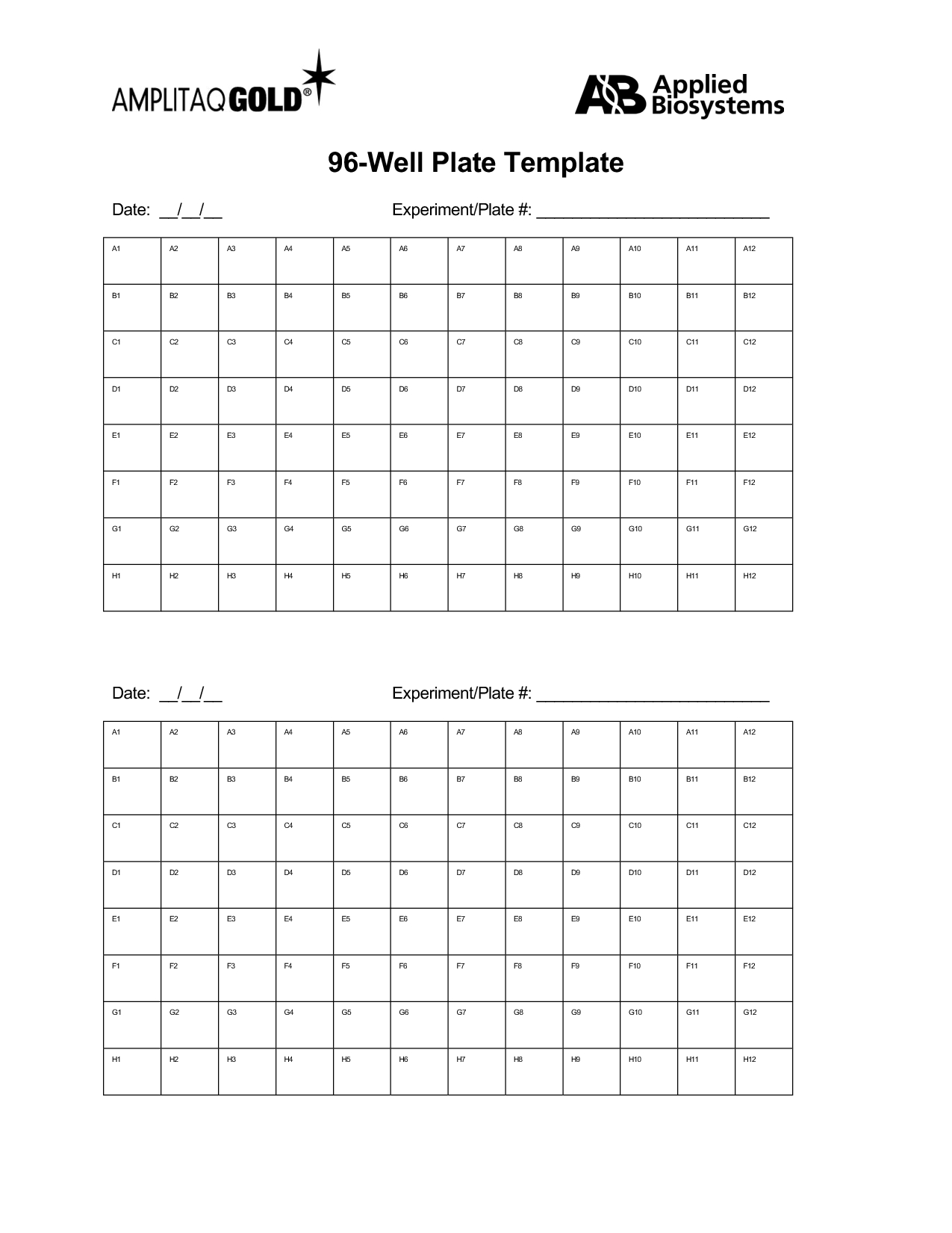96 Well Plate Template Printable | Template and Template