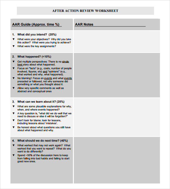 8 After Action Review Templates Download for Free | Sample Templates