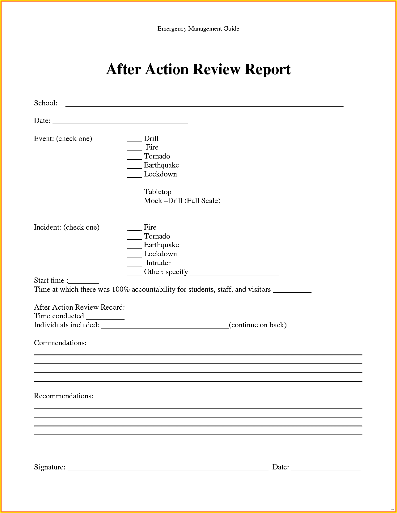incident after action report template April.onthemarch.co