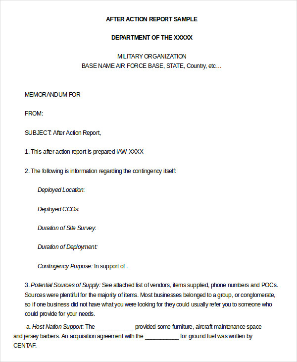 After Action Report Template 9+ Free Word, PDF Documents