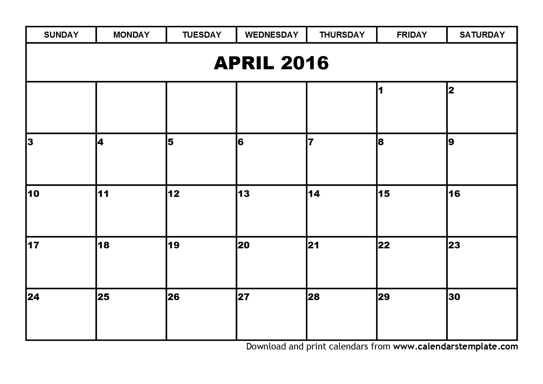 Calendar April 2016 UK, Bank Holidays, Excel/PDF/Word Templates