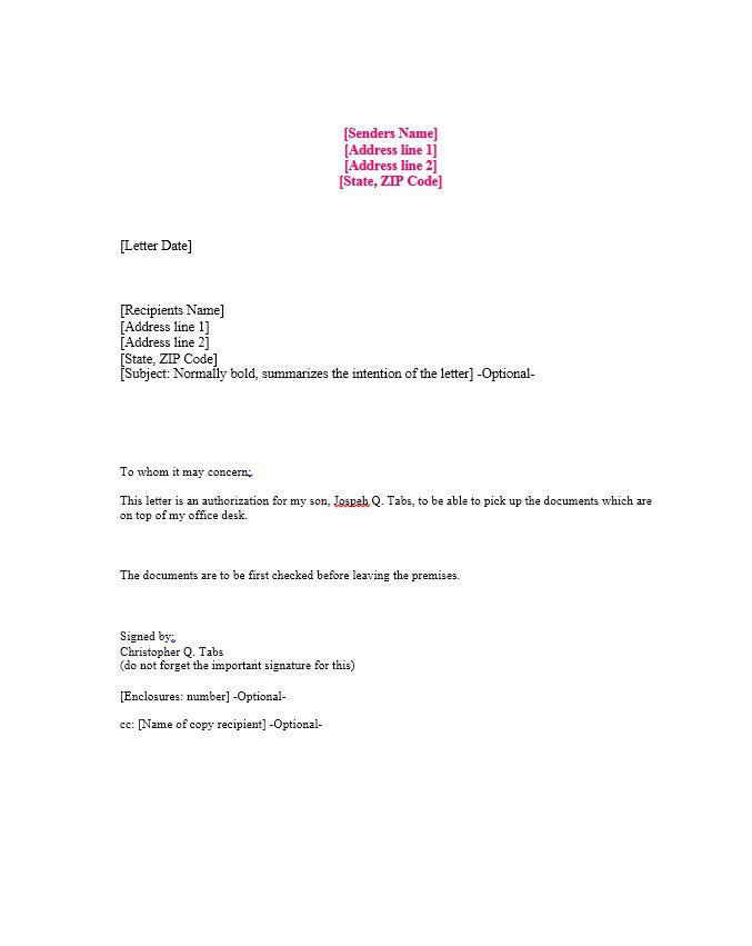 authorize letter template April.onthemarch.co