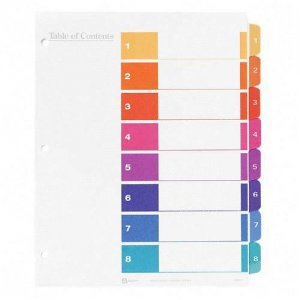 Template for Avery 11437 Index Maker Easy Apply Dividers, 8 Tab