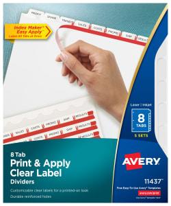 Avery Print & Apply Dividers 8 Tabs, 5 Sets (11437)   Avery.com