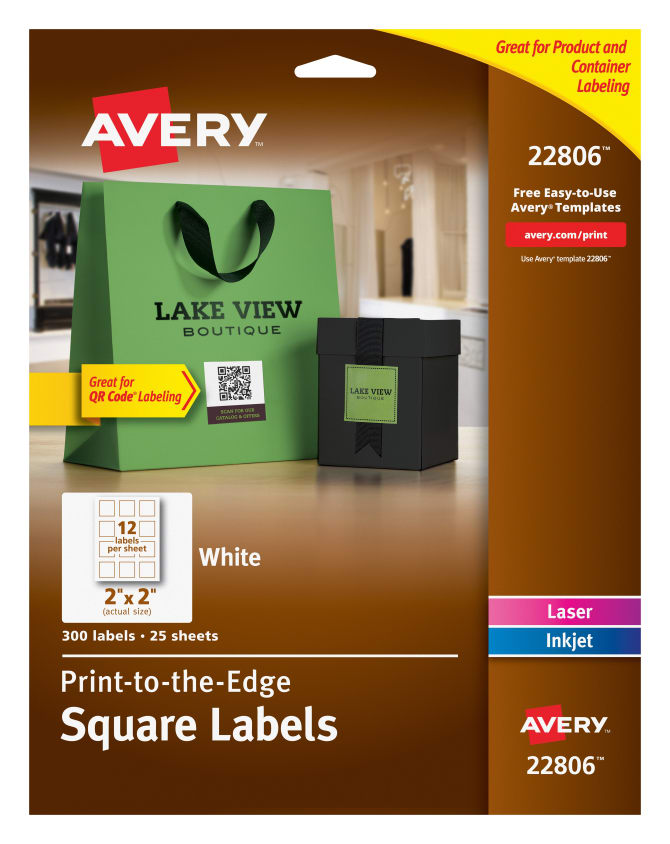 Avery Easy Peel Print to the Edge White Square Labels, 300 Labels