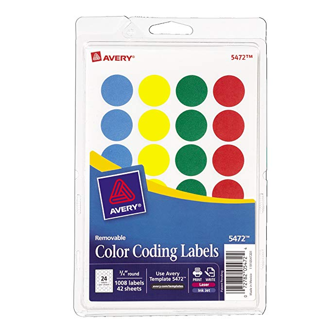 Avery® Print or Write Color Coding Labels 5472 Template