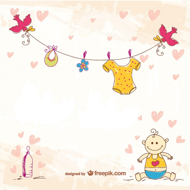 Cute doodle baby template Vector | Free Download