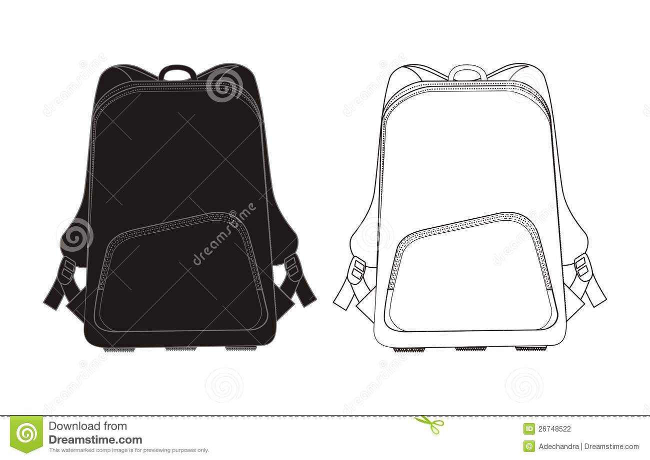 Backpack template stock vector. Illustration of education 26748522