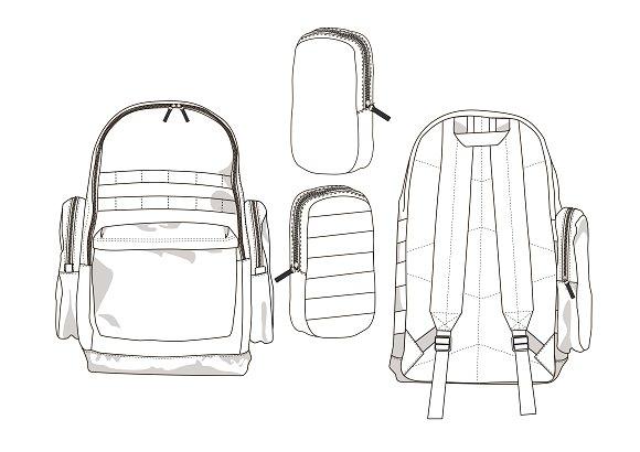 Backpack Fashion Flat Template ~ Templates ~ Creative Market