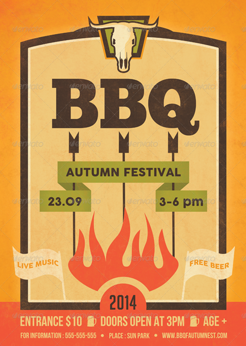 Barbecue Hipster Flyer Template by ragerabbit | GraphicRiver