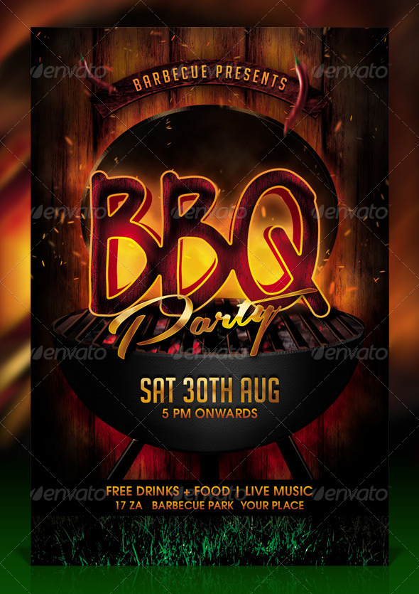 BBQ / Barbecue Party Flyer Template by Dilanr   GraphicRiver