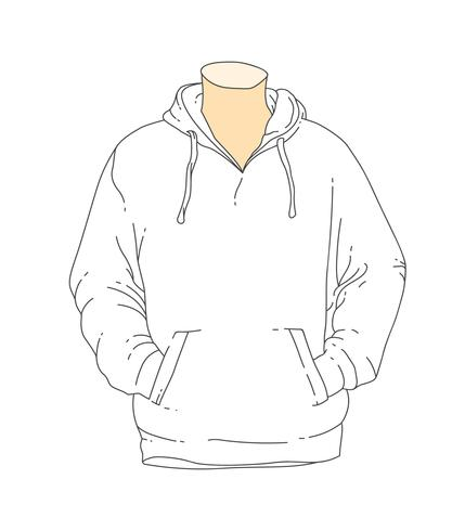 blank white outline hooded sweatshirt template Download Free