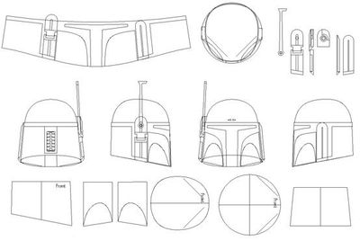 Boba Fett Helmet Blueprints/Templates | Boba Fett Costume and Prop