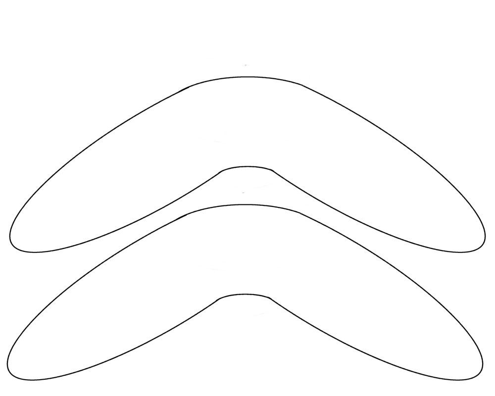 Boomerang pattern. Use the printable outline for crafts, creating