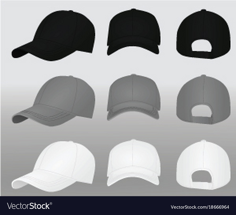 Baseball caps template Royalty Free Vector Image