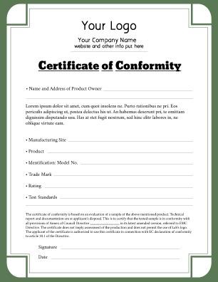 certificate of conformance template certificate of conformance