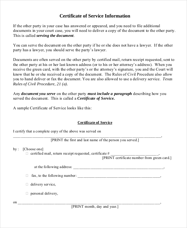 certificate of service template certificate of service template 7