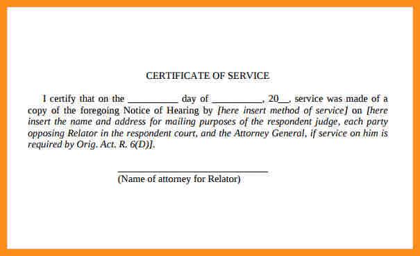 certificate of service template certificate of service template