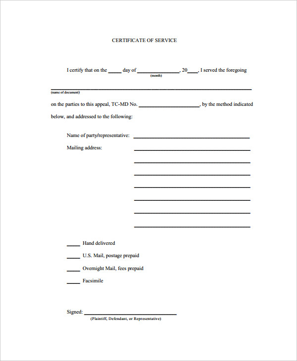 Certificate of Service Template 7+ Free Word, PDF Documents