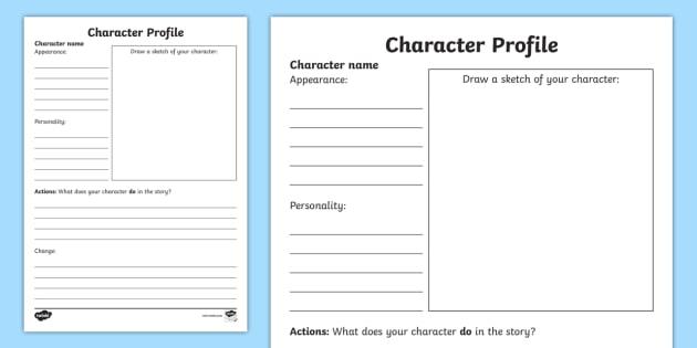 Character Description Template | TeacherLingo.com