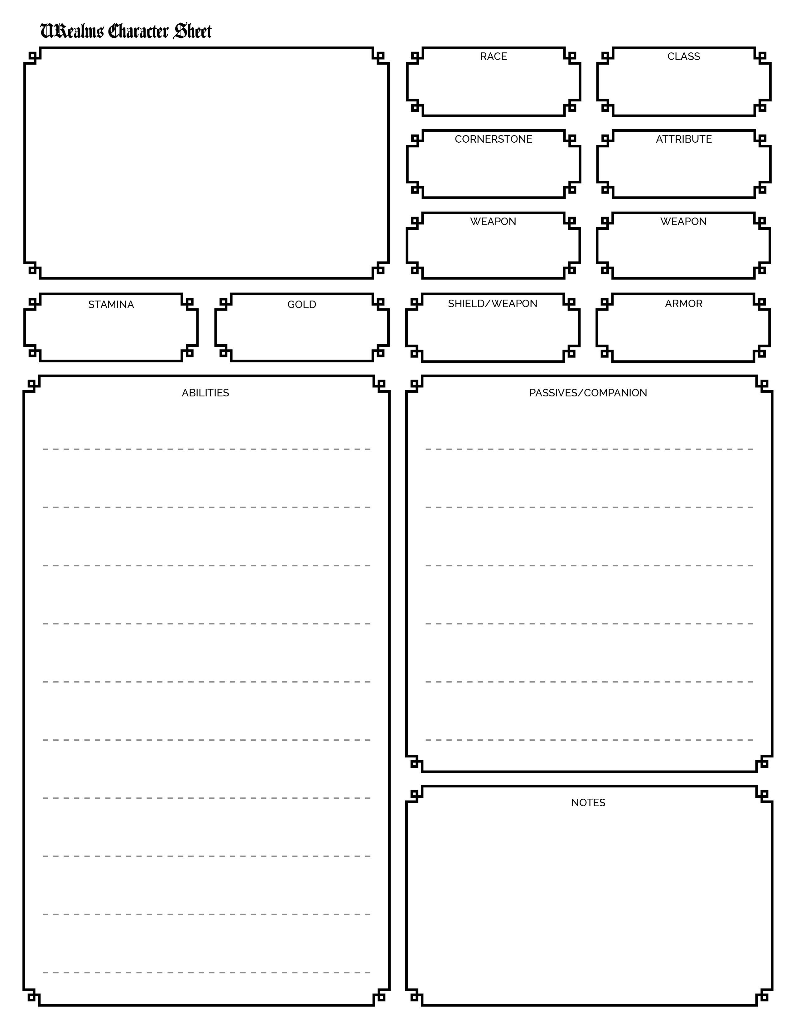 URealms Character Sheet Template URealms Forums