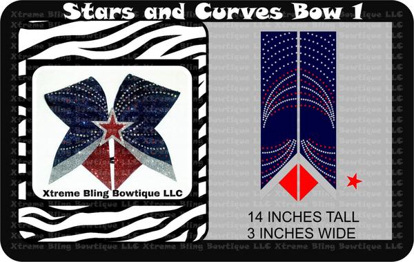 Stars and Curves 1 Cheer Bow Template Download – Xtreme Bling