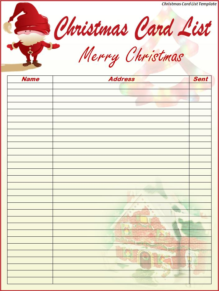 Christmas Card Mailing List Template | WCM