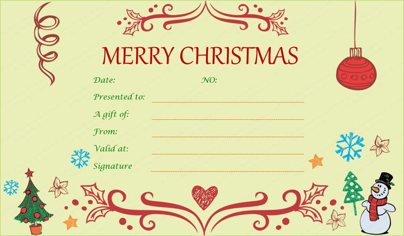 holiday gift certificate template free printable decorating