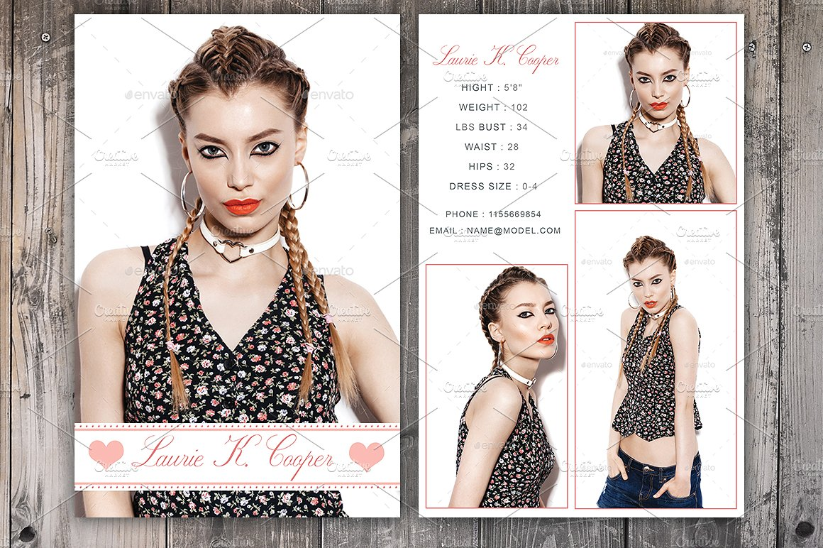 Modeling Comp Card Template ~ Card Templates ~ Creative Market