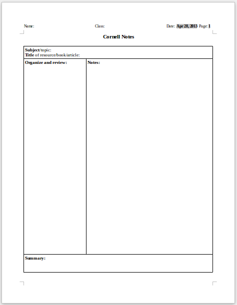 Cornell Notes Google Docs Template | Best Template Idea
