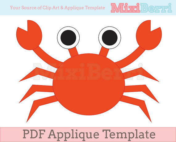 Crab pattern. Use the printable pattern for crafts, creating