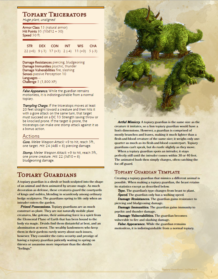 DnD 5e Homebrew — Topiary Guardians + Template by Shylocv