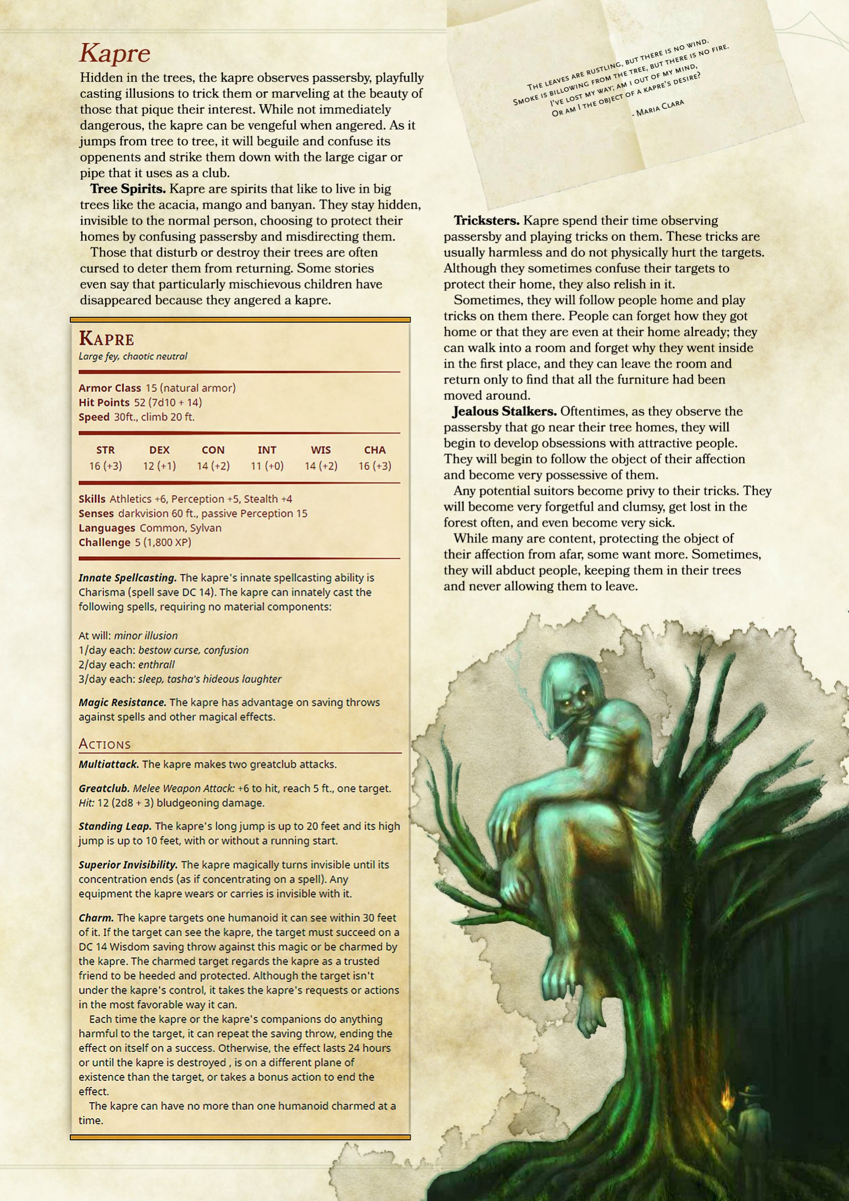 Kapre 5E Homebrew Monsters inspired by Philippine folklore Imgur