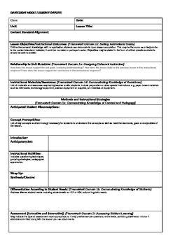 Danielson Model Lesson Plan Template | teaching ideas | Pinterest