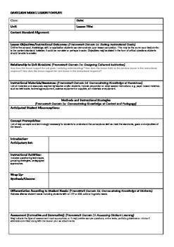 Danielson Model Lesson Plan Template by dotdotdot | TpT