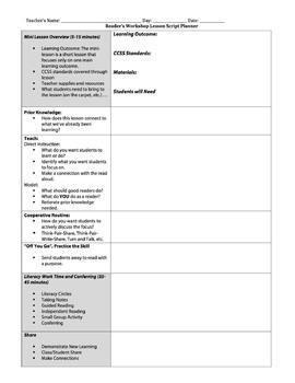 Reader's Workshop Lesson Plan Template (Danielson model) | TpT