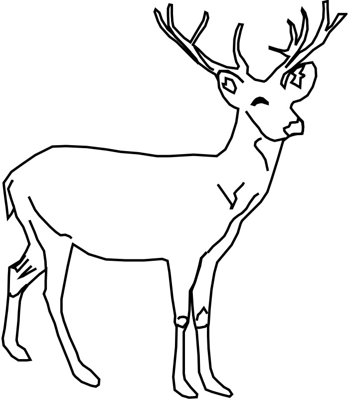 Deer pattern. Use the printable outline for crafts, creating