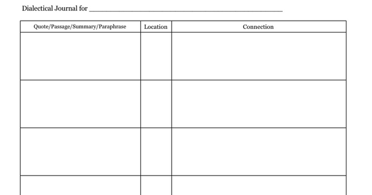 Dialectical Journal Template Google Docs