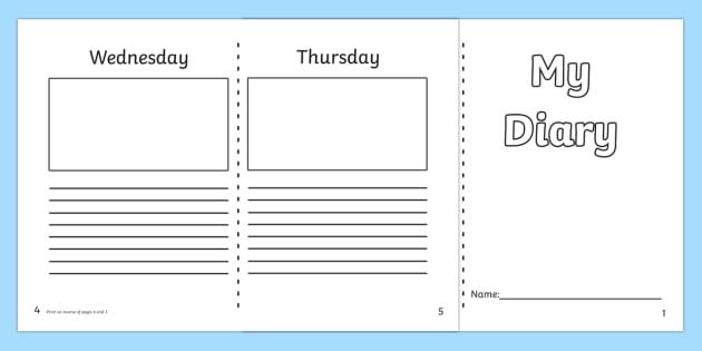 Diary Template KS1 7 day diary, writing frame, diary, journal