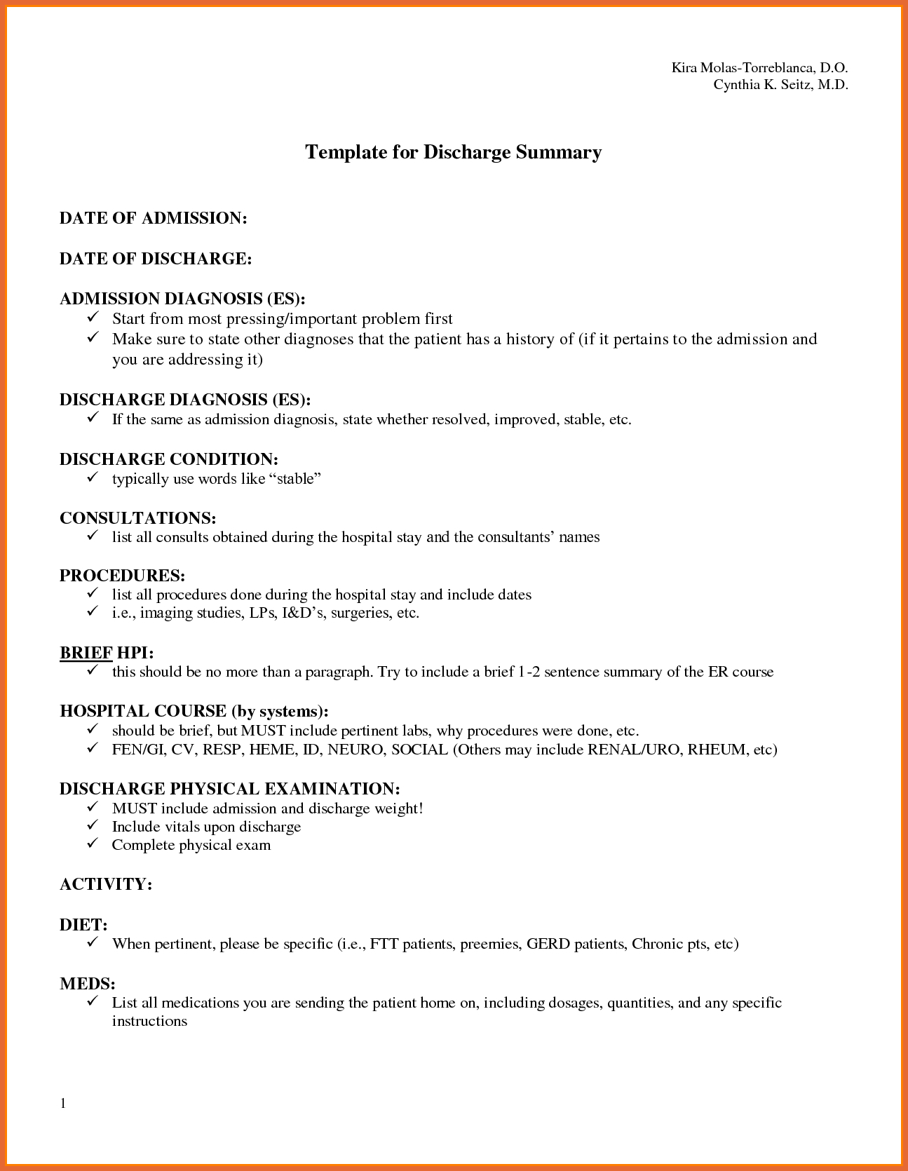 Discharge Summary Exampledischarge Summary Example Discharge With