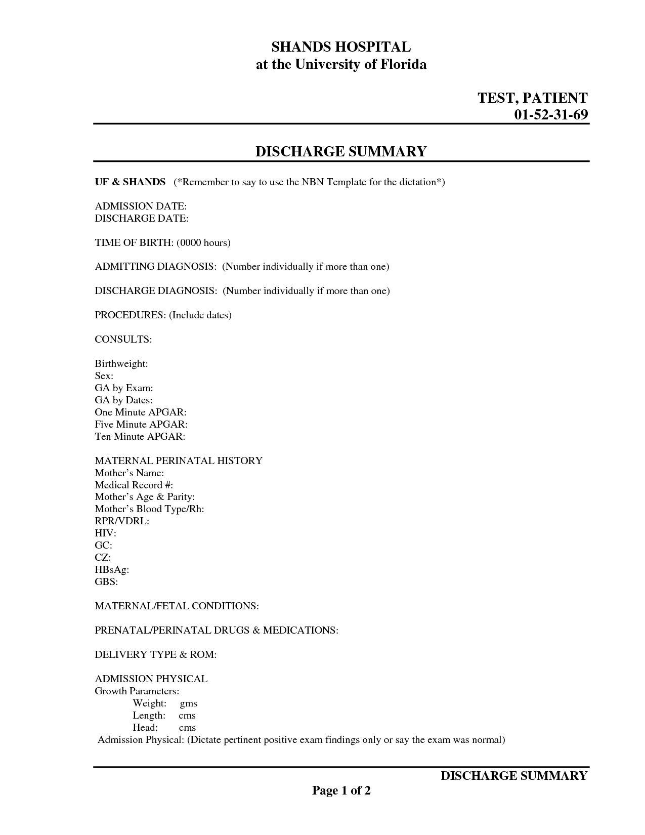 Discharge Summary Template | http://webdesign14.com/
