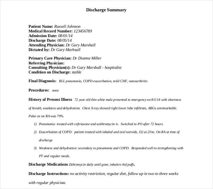 9+ Discharge Summary Templates PDF, DOC | Free & Premium Templates