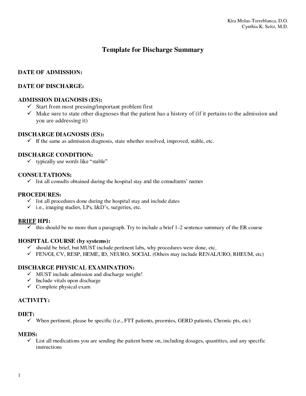 sample discharge summary templates to download business template