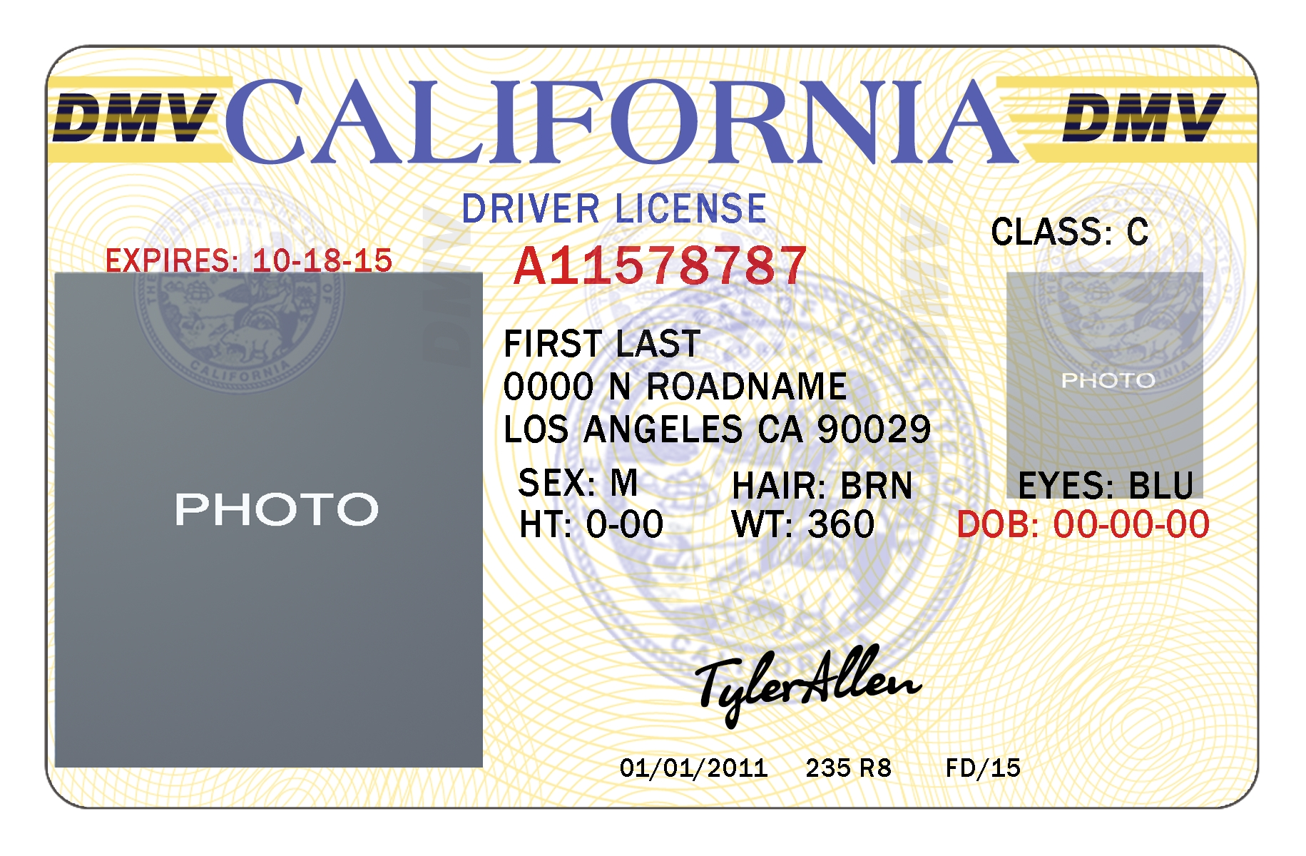 Send 1 california drivers license photoshop template by Chris_haralson