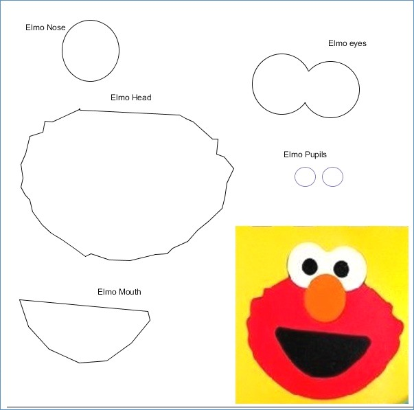 Template of Elmo's face for printing. Also like the idea of kids