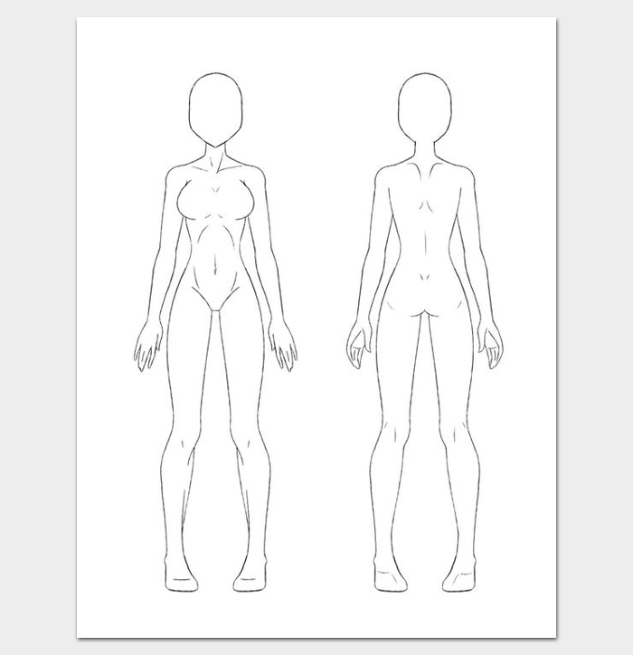 Female Body Outline Front and Back | Outline Templates Create a