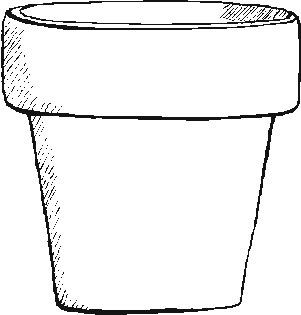 Flower pot pattern. Use the printable outline for crafts, creating
