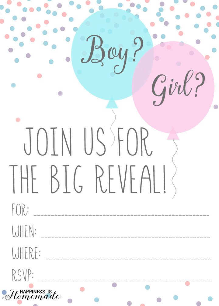 Free Printable Fresh Gender Reveal Party Invitation Template