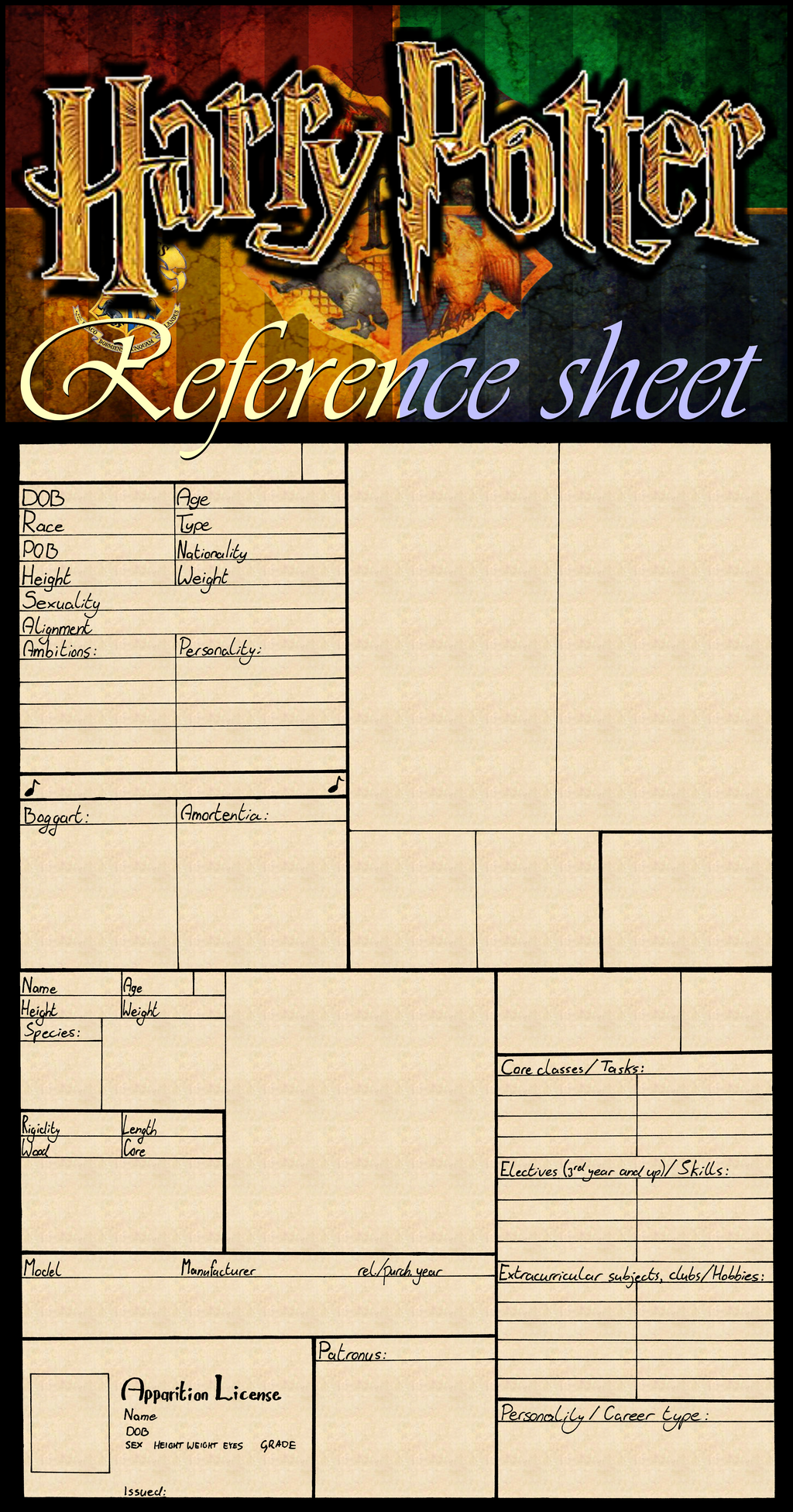 Harry Potter: Character Reference Sheet_Blank by tactical poet on