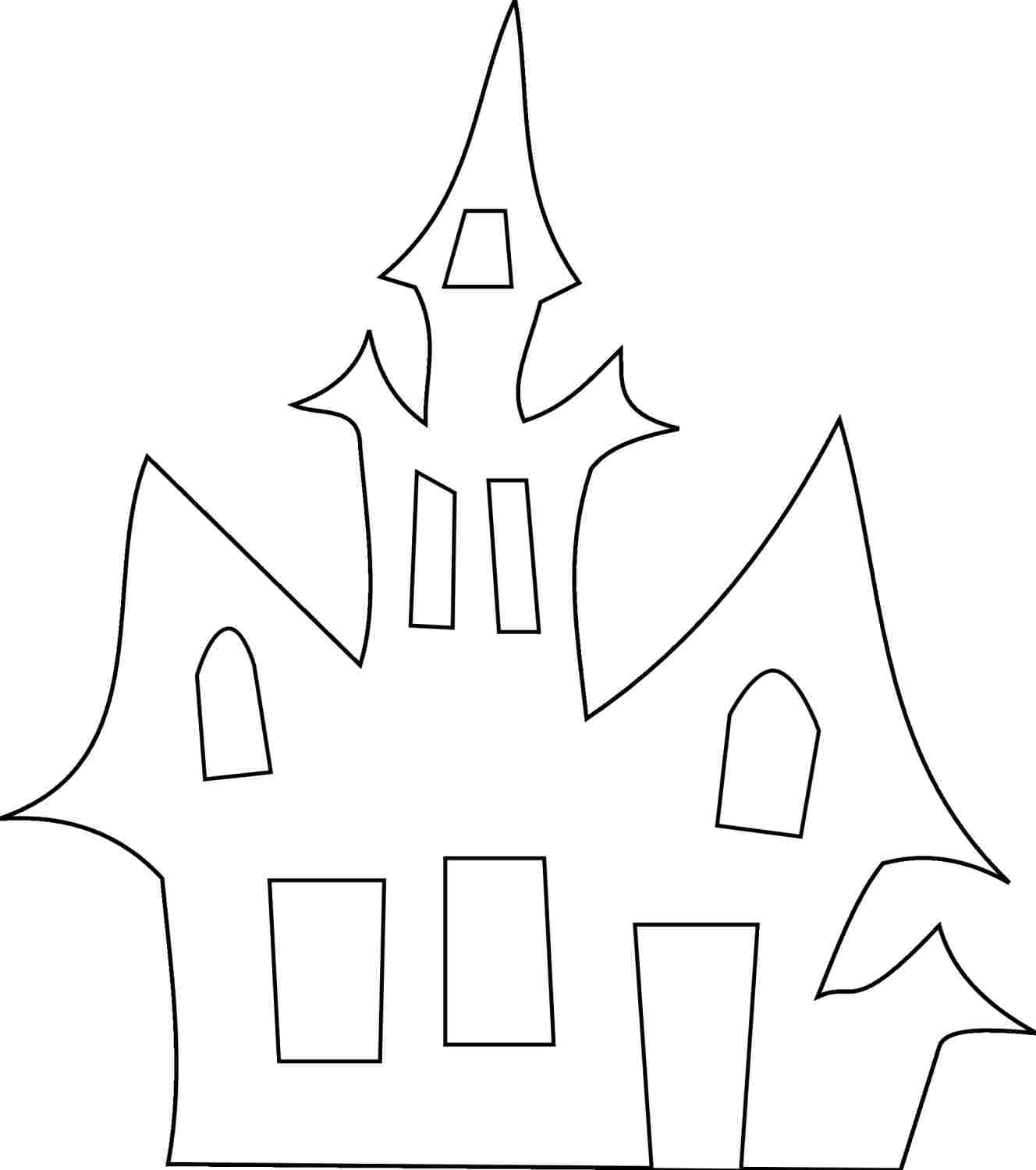 Haunted house pattern for Halloween. Use the printable outline for